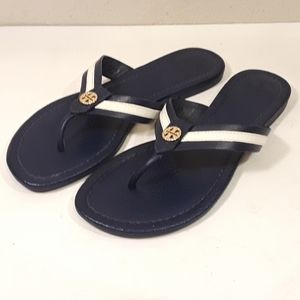 Tori Burch Womens 6M Flip Flop Sandals Blue White